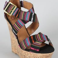 Delicious Hall-S Tribal Criss Cross Wedge
