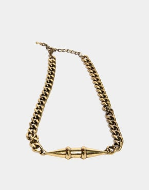 Double Spike Chain Necklace in Rusted Gold