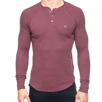 True Religion Poplin Contrast Embroidered Mens Henley - Ox Blood