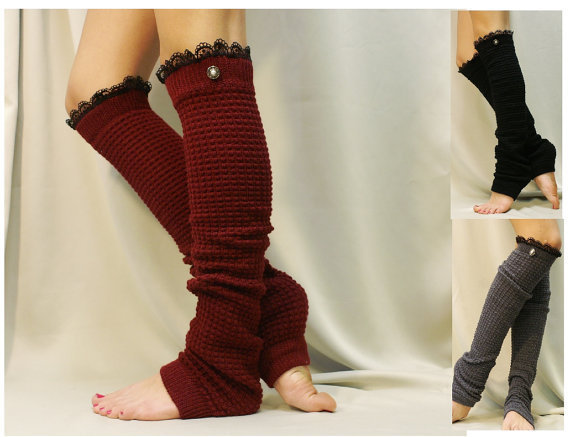 Dancer ballerina extra long leg warmers womens -3 colors- popcorn texture, lace buttons by Catherine Cole Studio legwarmers