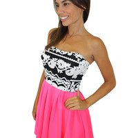 Neon Pink and Black Dress with Printed Top - Gigi