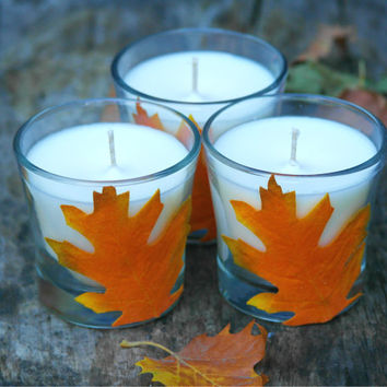 4 oz Unscented Soy Candle - Undyed - Fall Decor - Recycled Jar - Decorative Jar Candle -  Great for parties, home, gift, outdoors - Handmade