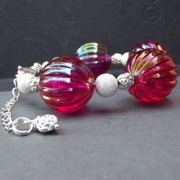 Fuchsia Pink and Silver Bracelet:  Stardust Vintage Rose Beaded Chunky Bracelet, Raspberry Kawaii Statement Jewelry
