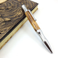 Ballpoint Pen with Turned Bethlaham Olive Wood