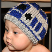 Knit Star Wars R2D2 Hat -- Newborn, Infant, Toddler -- Baby Clothing -- Sci-Fi Geek -- Handmade, Unisex, Washable