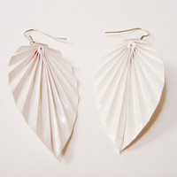 White Leaf Origami Earrings.