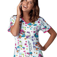 Tooniforms by Cherokee Women's V-Neck Print Scrub Top
