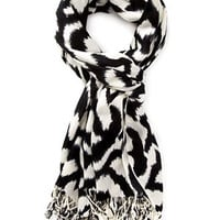 Abstract Print Fringe Scarf