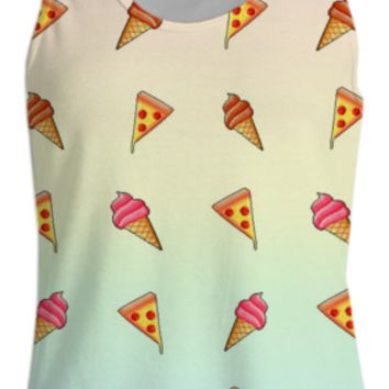 Pizza and Ice cream Womens Tank Top created by Adorkible Designs | Print All Over Me