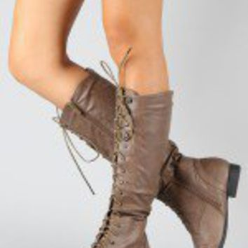 Coco-2 Lace Up Knee High Riding Boot