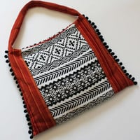 Amazing Super stylish and Comfortable Ethnic Style Textile Bag with  pompons metal zipper and internal pokets