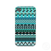 Aqua Aztec Pattern Iphone 4 Case-mate Case from Zazzle.com