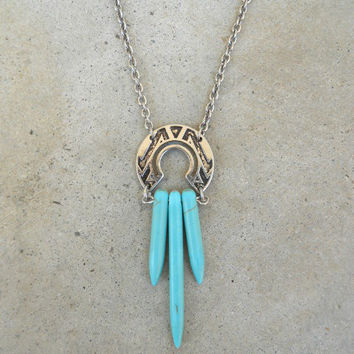 Turquoise Naja Necklace [6112] - $19.00 : Vintage Inspired Clothing & Affordable Dresses, deloom | Modern. Vintage. Crafted.