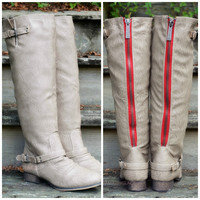 Montana Sky Beige Red Zipper Riding Boots