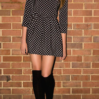 Polka dot peter pan collar 60s long sleeve  mini dress