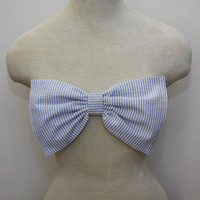 light blue seersucker bow bandeau - Made to order