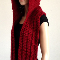 Crochet Scoodie in Red