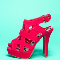 Caged In Heel - Raspberry