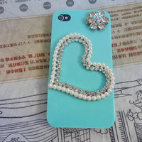 Blue hand case cover with pearl for Apple iPhone 4 Case, iPhone 4s Case, iPhone 4 GS Case  094