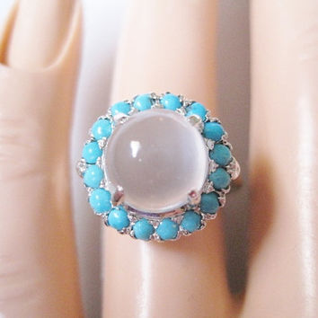 Sterling White Moonstone Turquoise Halo Ring - Sz 6 - Alternative Engagement Ring