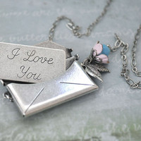 THE LOVE LETTER, antique silver envelop locket necklace with I love you message card inside
