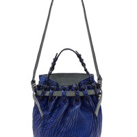 Alexander Wang Nile Blue Textured Leather Diego Dumbo Bag