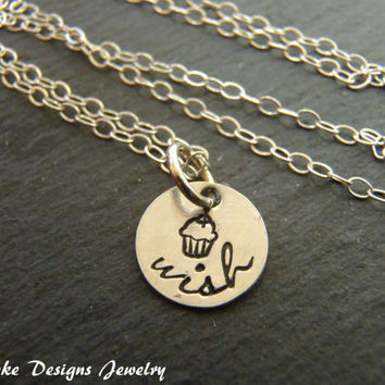 TINY cupcake necklace birthday wishes make a wish necklace