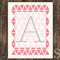 Pink Geometric Monogram Initial Wall Art, Home Decor, Digital Print, Poster - 8x10