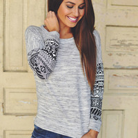 Grey Top/Tribal Sleeves