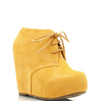 lace-up-bootie-wedge BLACK CORAL FUCH MUSTARD ORANGE RED ROYAL TAUPE TURQUOISE - GoJane.com