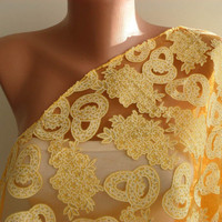 Yellow Silvery Tulle - Laced Fabric Scarf