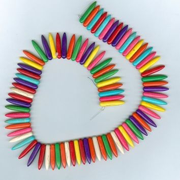 Colorful Synthetic Turquoise Dagger Stick Beads full strand
