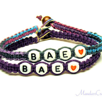 Bae Bracelets for Couples or Best Friends, Purple Haze and Dark Purple Hemp Jewelry