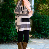 Drifting Away Tunic, Taupe/Black