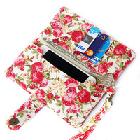 FLORAL IPHONE WALLET Wristlet Red Rose Vintage Flower Card Holder Pouch Sleeve Bag Purse Samsung Galaxy S3 S4 S5 Note2 Note 3 iPhone 5 5s 5c