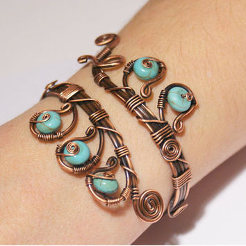 Wire wrapped turquoise bracelet-wire wrapped jewelry handmade-wire jewelry-copper jewelry-turquoise bracelet