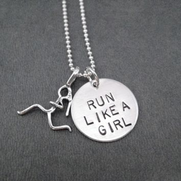 Sterling Silver RUN LIKE A GIRL Necklace on Sterling Silver or Leather and Sterling Chain