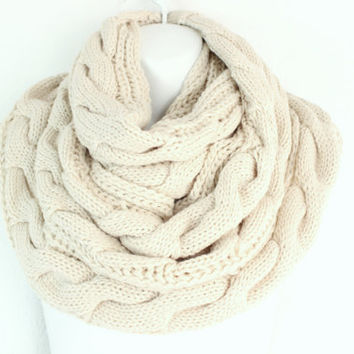 Womens Chunky Knit Scarf Knit Infinity Cable Knitted Scarf Knit scarf Cowl Cozy Snood Scarf