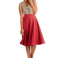 ModCloth Long Full Bugle Joy Skirt in Scarlet