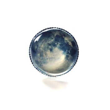 Full Moon Ring Wearable Art 01 Twilight Adjustable Photo Silver Art Nature  Fantasy
