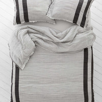 4040 Locust Spacedye Stripe Duvet Cover- Black