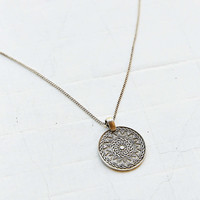 Etched Medallion Pendant Necklace- Silver One