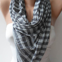 Grey Striped Scarf - Combed Cotton Fabric for Summer