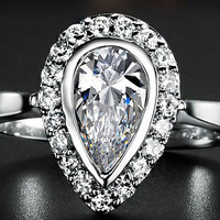 Engagement Ring -  0.6 Carat Pear Cut Diamond Engagement Ring In 14K White Gold