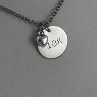 LOVE WHAT YOU DO! RUN, 5K, 10K, 13.1, 26.2 TRI, SWIM or BIKE Necklace - Nickel pendants and pewter charm on gunmetal chain.