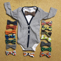 Baby Boy Heather Gray with Navy Cardigan Outfit with your choice of 1 Removable Bow Tie