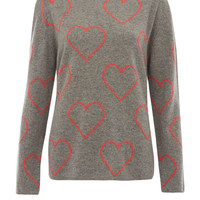 Chinti and Parker Grey Heart Intarsia Cashmere Jumper | Women's Knitwear by Chinti and Parker | Liberty.co.uk