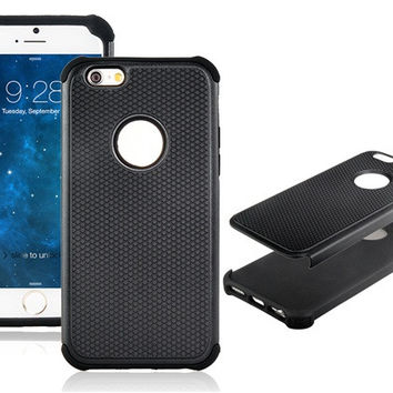 2 In 1 Black Silicone + Plastic Case for iPhone 6