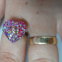 adjustable cabochon ring,Heart ring