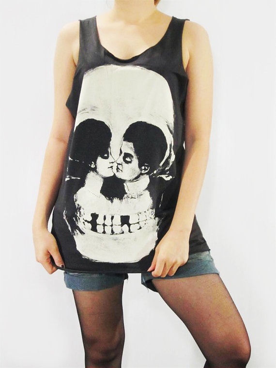 SKULL Death I Love You To Death Sweet Romantic Goth Gothic Skull Illusion Halloween Shirt Women Tank Top Vest Tunic Top Black Shirt Size S M